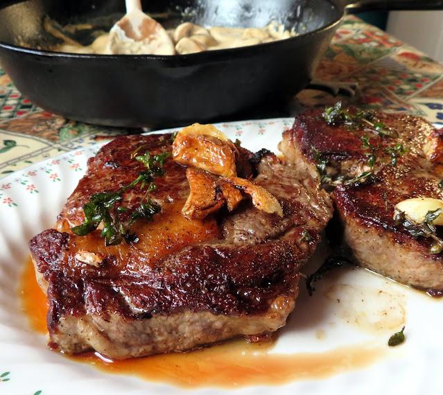 Garlic Butter Steak with  a Creamy Mushroom Sauce