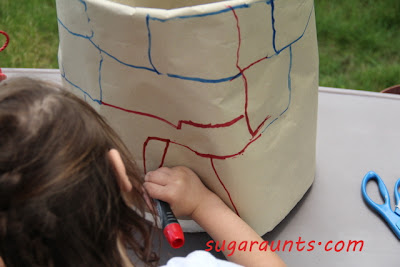 draw bricks on craft paper