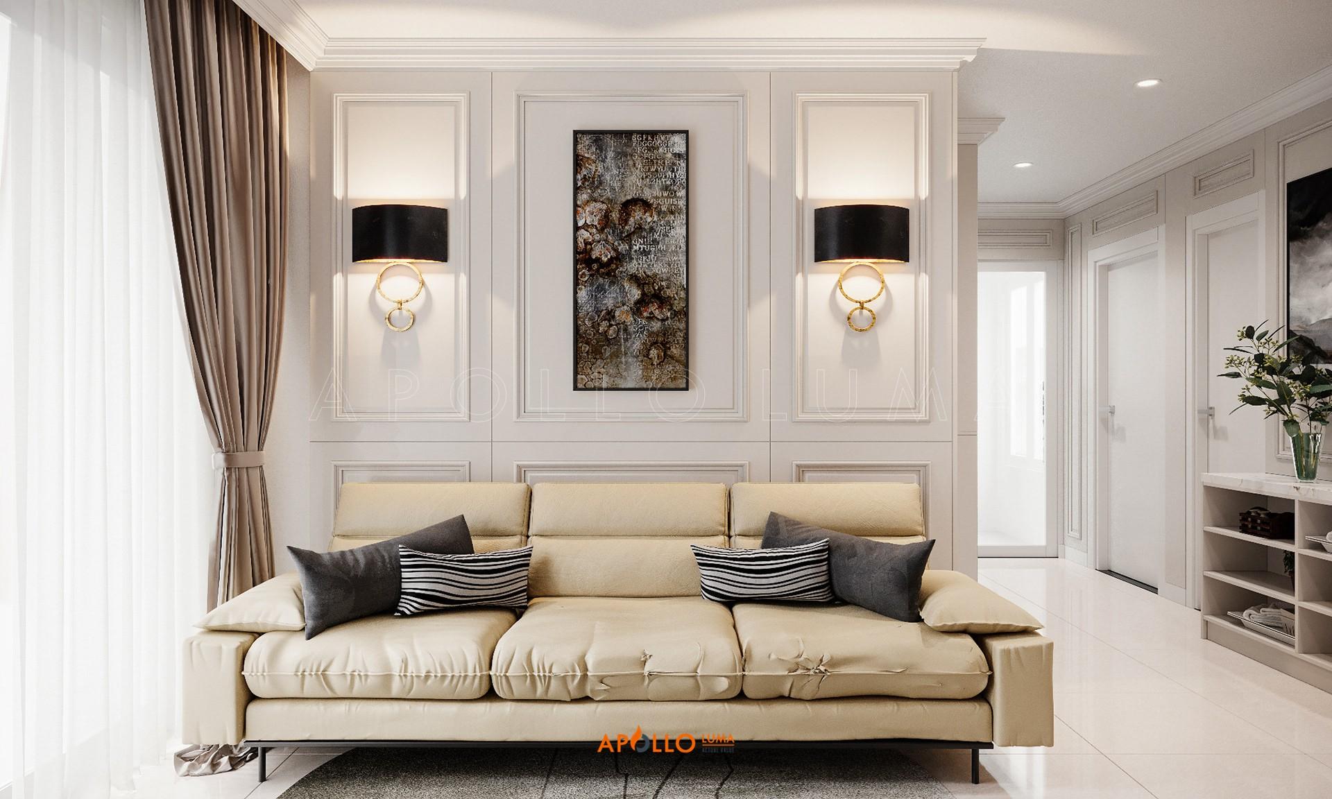 Thiết kế nội thất căn hộ 2 phòng ngủ Vinhomes Smart City phong cách Tân Cổ Điển