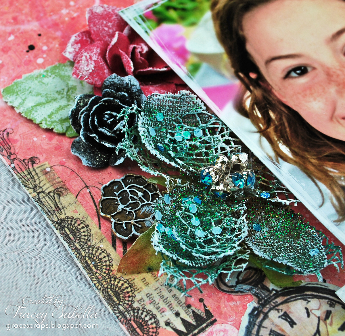 Mixed media layout by Tracey Sabella for C'est Magnifique, Blue Fern Montage, Prima