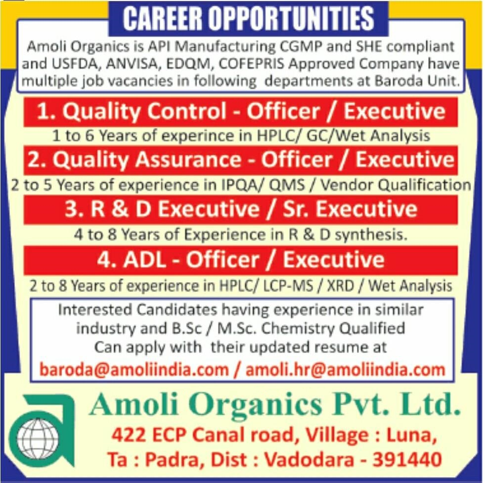 Amoli Organics – Multiple Job Vacancy for Quality Control, Quality Assurance, R&D, ADL  | Apply Now