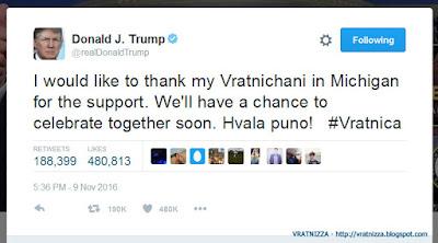Donald Tramp: Poruka za Vratnichani na Tviter