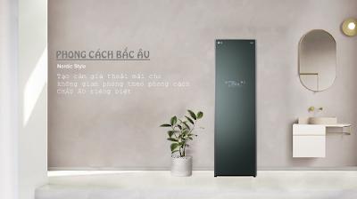 Màu xanh khói của LG Styler S5GFO như hài hòa trong một tổng thể thiên nhiên thoáng mát của gia đình