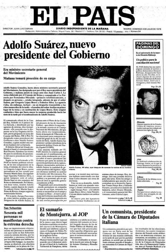 El País, front page July 4, 1976