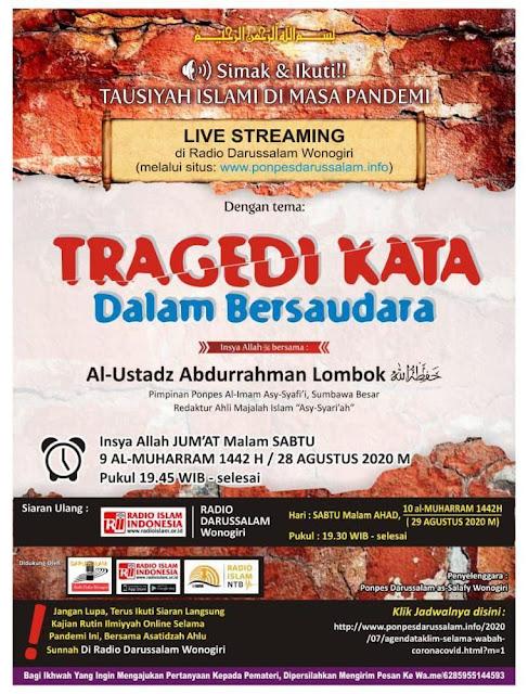 [AUDIO] Program Tausiyah Islami di Masa Pandemi Bagian Keempat: Tragedi Kata Dalam Bersaudara
