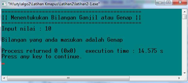 Running Program Pada saat meng-input nilai Genap