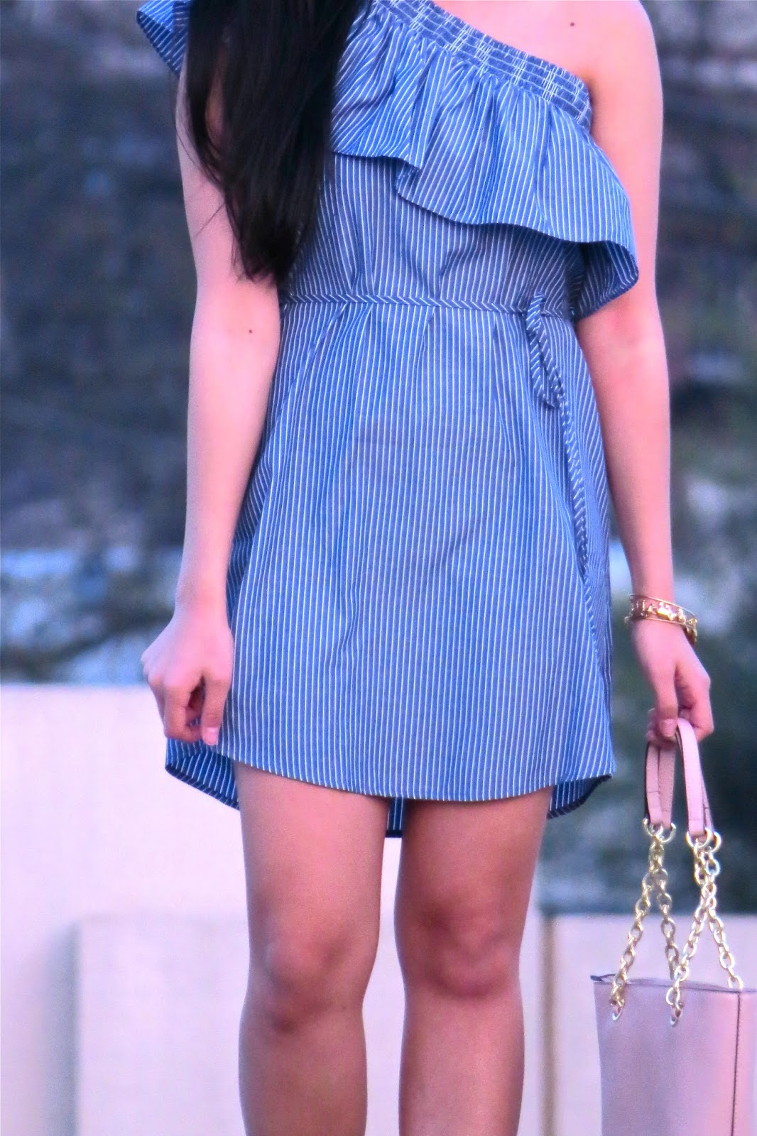Striped_one_shoulder_ruffle_dress