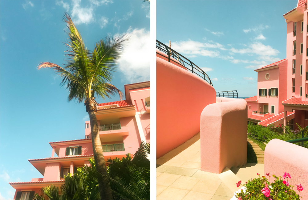 travel holiday, vacation picture, blue skies, palm tree, pink hotel