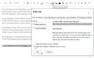 Cara Membuat Link Nofollow di postingan