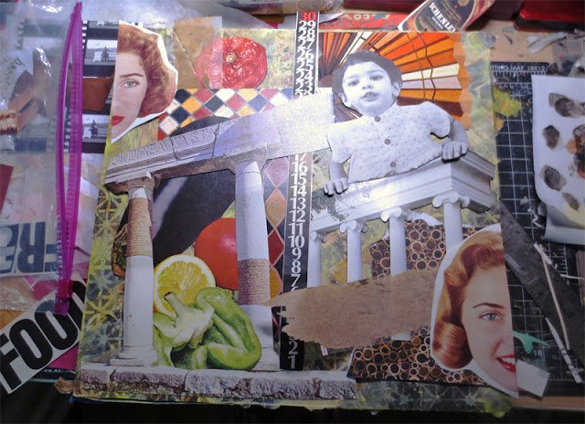 making collage for NW Collage Society show