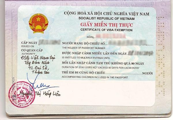 Exencion de Visado a Vietnam