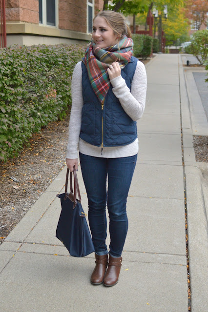 what to wear with a navy puffer vest