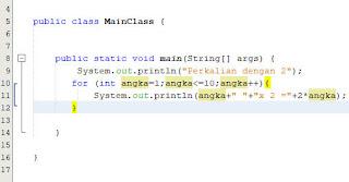 contoh lain program for di java