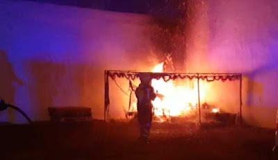 Incendio de un Belén en Arrecife, Lanzarote, canarias