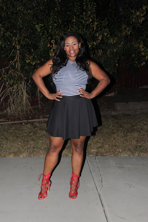 stripe-forever-21-bodysuit, JustFab-Black-skater-skirt, red-gladiator-heels, plus-size-blogger, black-blogger, Melissa-Geddis