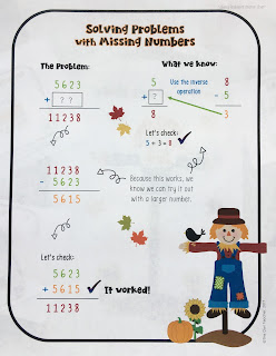 Help your students practice addition and subtraction of missing numbers with this engaging math center game perfect for fall in any classroom!