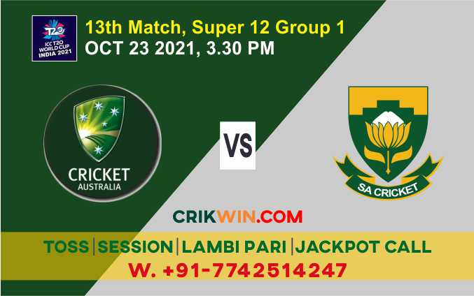WC T20 2021: AUS vs SA 13th Match Cricdiction Prediction & Cricket Betting Tips Free