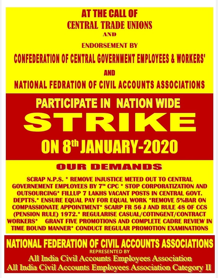 Confederation Strike Notice for 8th Jan