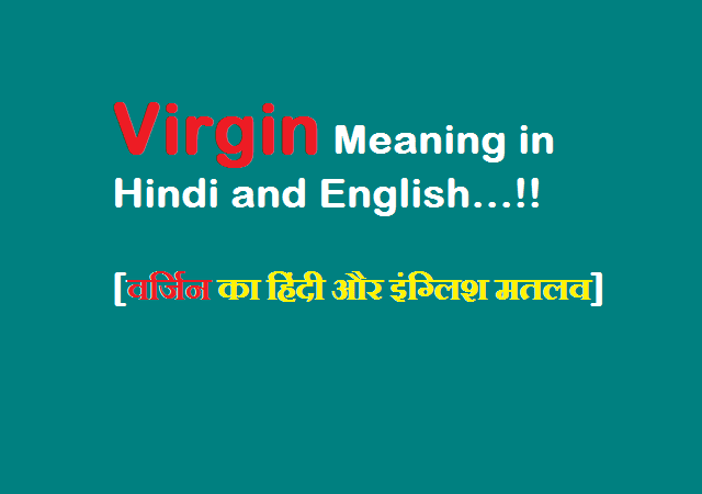 Virgin Meaning in Hindi and English