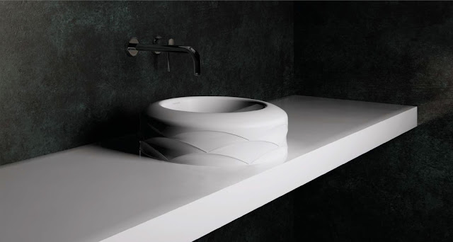 lavoare de baie Kira, rotund cu design proeminent linear