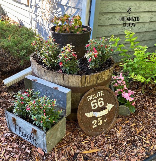 Photo of a junk garden vignette.