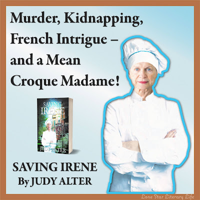 "Image of Chef Irene with arms folded in front: ""Murder, Kidnapping, French Intrigue - and a Mean Croque Madame!"""
