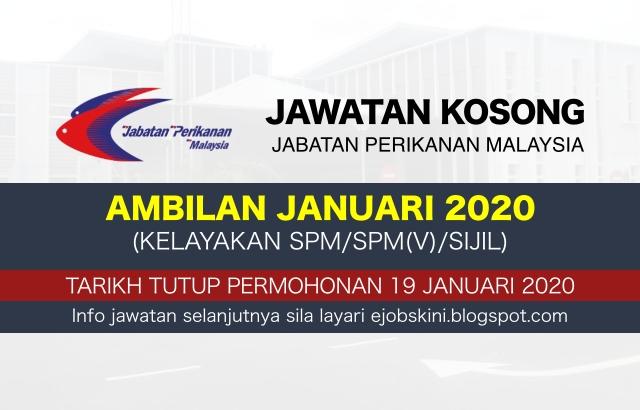 Jawatan Kosong Jabatan Perikanan Malaysia (DOF) 2020