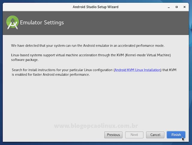 Mensagem informando que o seu sistema pode executar o emulador do Android com um desempenho acelerado