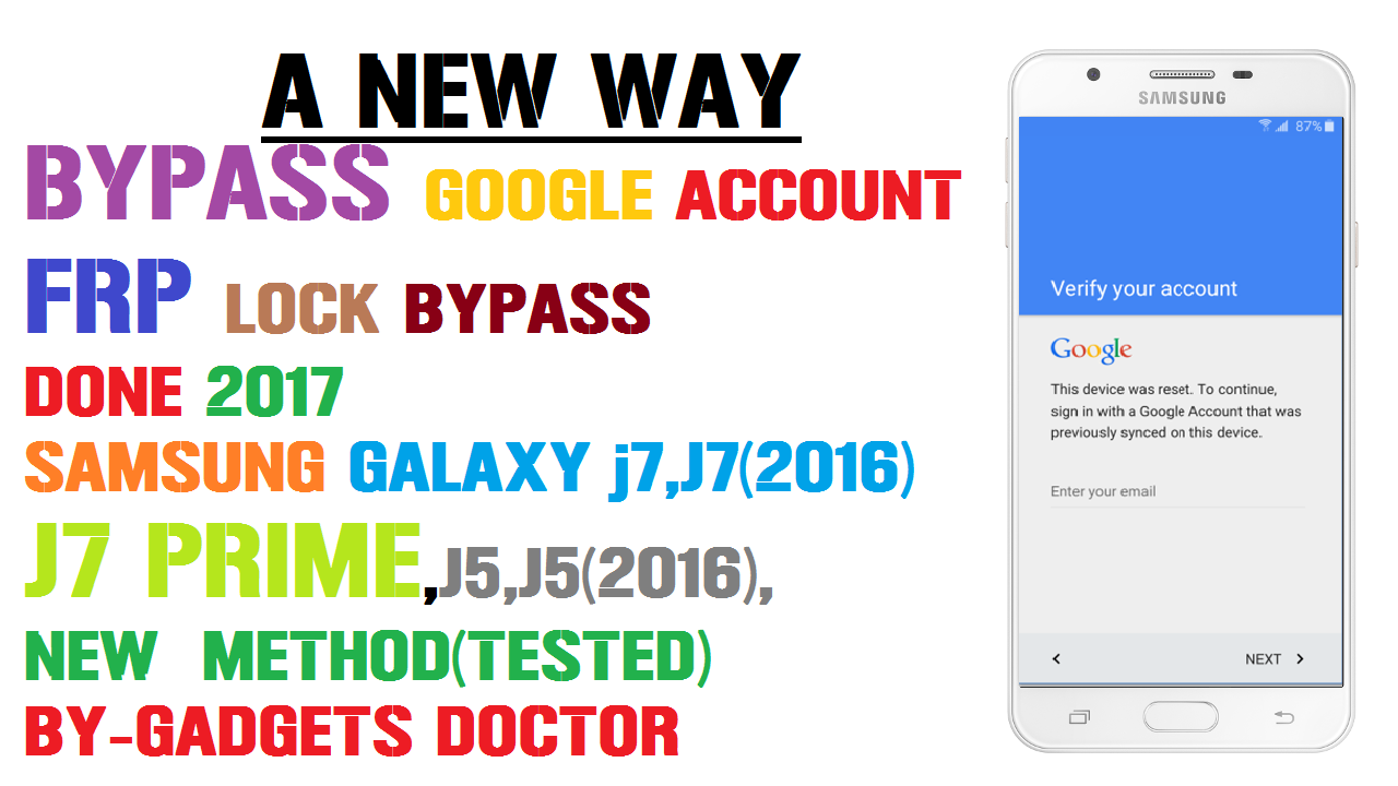 A New Way to Bypass Google Account On Samsung J7,J7(2016),J7