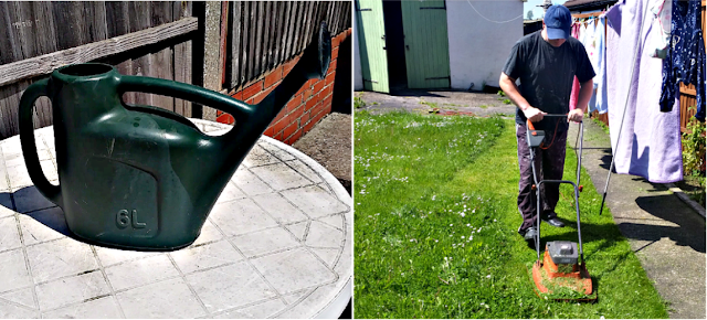 Watering can & my fella cutting the lawn