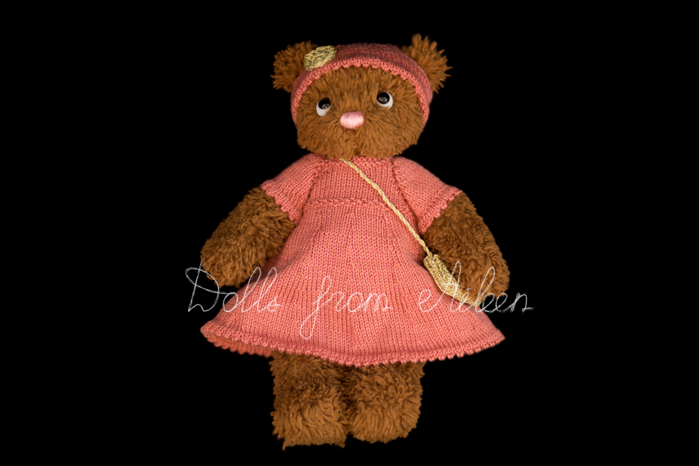 ooak artist teddy bear wearing pink dress