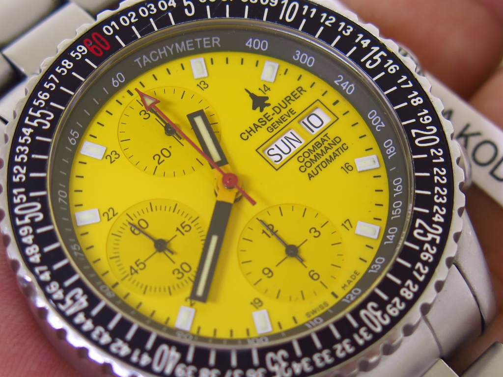 CHASE DURER GENEVE COMBAT COMMAND YELLOW DIAL - CHRONOGRAPH - AUTOMATIC VALJOUX 7750