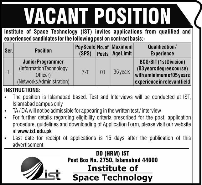 Institute of Space and Technology Islamabad Jobs