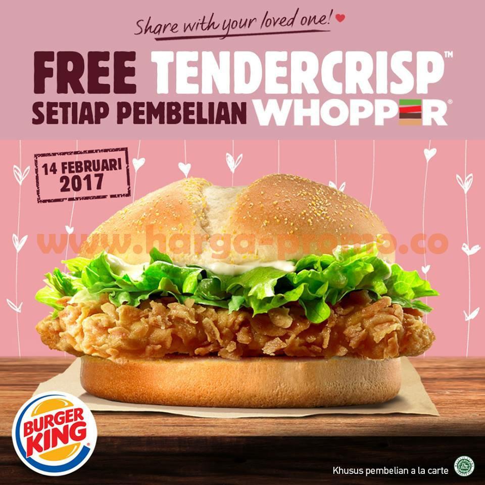 Promo BURGER KING Terbaru Wicked Whopper Gratis Tendercrisp Periode 14 Februari 2017