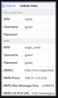 Virgin Mobile APN Settings South Africa for iPhone