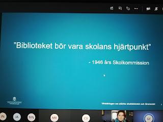 """Skärmbild från Gustav Fridolins bildspel""""Biblioteket bör vara skolans hjärtpunkt"""", foto Ninni Malmstedt"""