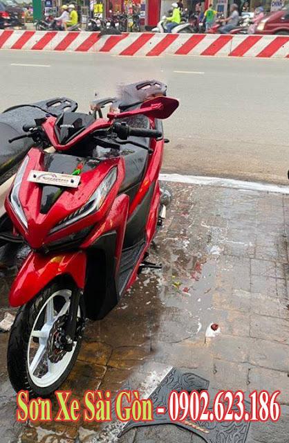 Mẫu sơn xe Honda vario màu đỏ candy cực đẹp
