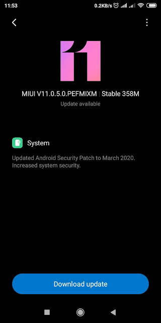 xiaomiintro security patch android miui 11 PEFMIXM update