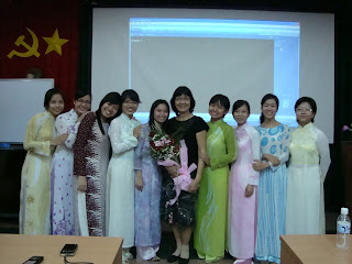 Ao Dai in Vietnamese school. Students with Aodai