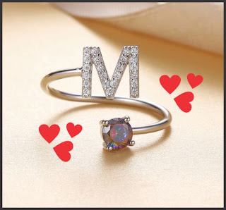 m letter ring pic