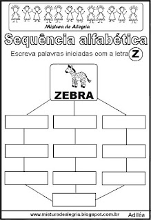 Sequência alfabética letra Z