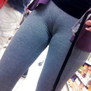Mujeres cameltoe marcado pants yoga pegados