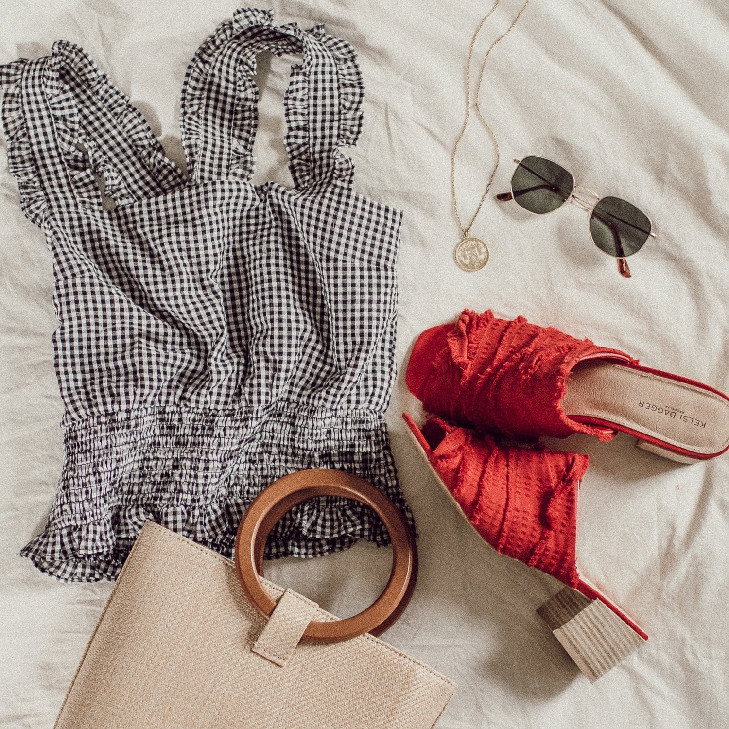 spring/summer flat lay | gingham top