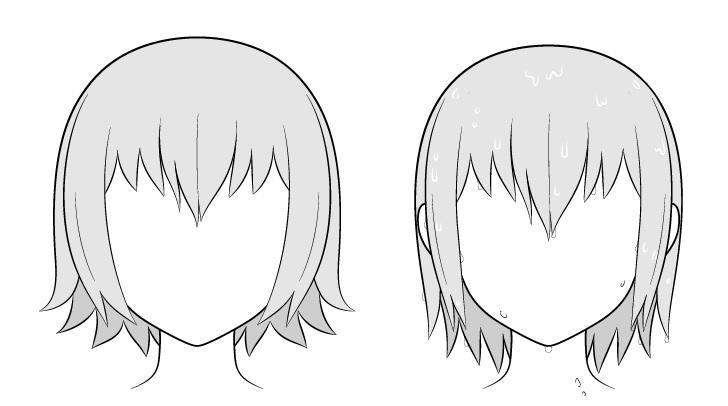Perbandingan rambut basah vs rambut kering anime