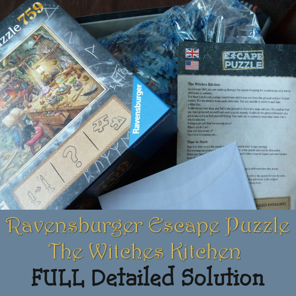 Ravensburger Escape Puzzle Witch's Kitchen Solution, Help and Hints witches exit jigsaw puzzles solved answers clues