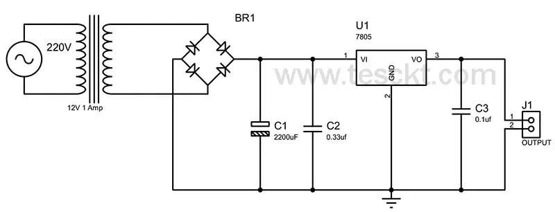 5v Power supply using 7805 voltage regulator circuit