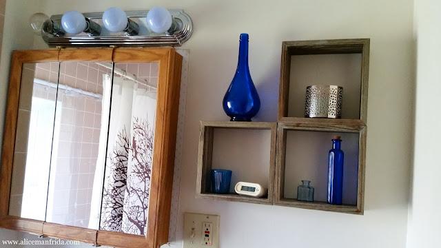blue, white, bathroom, small bathroom, storage, organization, home decor