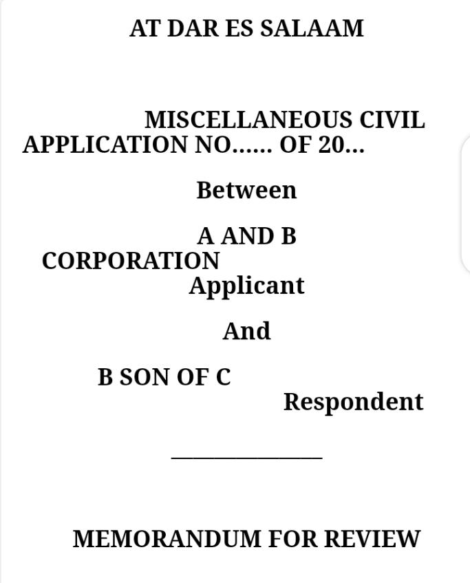 memorandum of review in tanzania