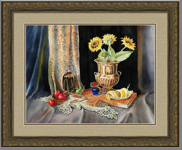 Old Masters style Still Life with Sunflowers artist Irina Sztukowski