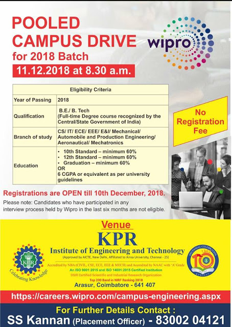 Wipro Off Campus Drive at Coimbatore for 2018 Batch
